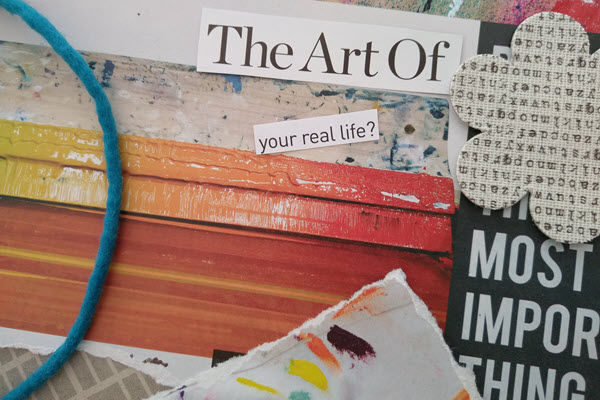 Sensemaking Studio Hour a free open studio session. Image showing art materials with the words The Art Of